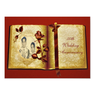 Love Book 50th Wedding Anniversary Photo Card