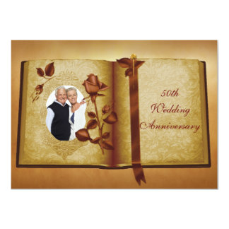 Love Book 50th Wedding Anniversary Photo Invites