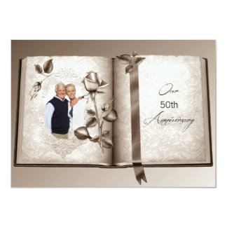 Love Book Wedding Anniversary Custom Photo Invites