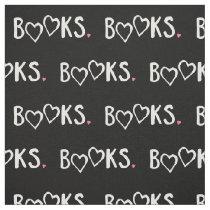 Love Books Pink Hearts Fabric
