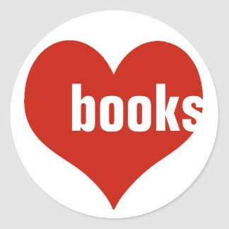 love books / red hearts classic round sticker