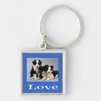 Love Border Collie Puppy Blue Dog Keychain
