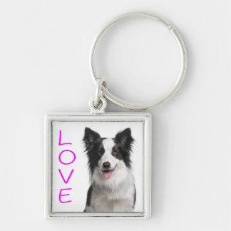 Love Border Collie Puppy Dog Keychain