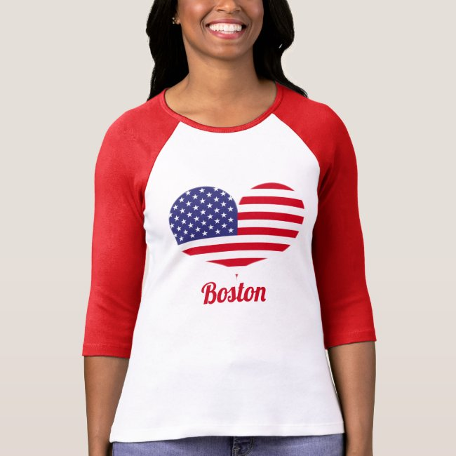 Love Boston | Heart Shaped American Flag