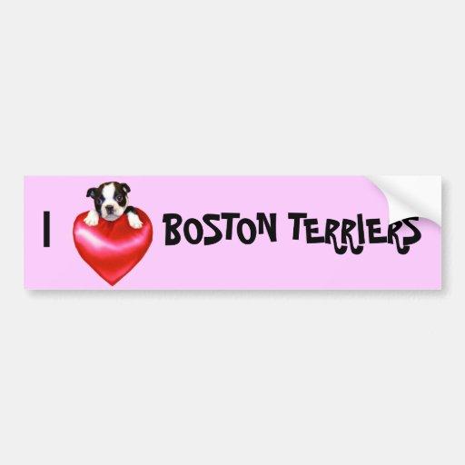 Love Boston Terrier bumper sticker Car Bumper Sticker