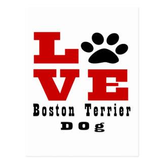 Love Boston Terrier Dog Designes Postcard