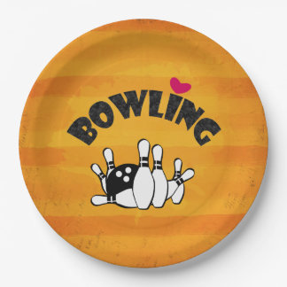 Love Bowling -  B&W Bowling Pins and Ball Paper Plate