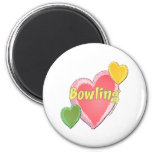 Love Bowling Hearts Refrigerator Magnet