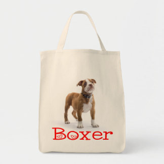 Love Boxer Brown And White Puppy Dog Tote Bag