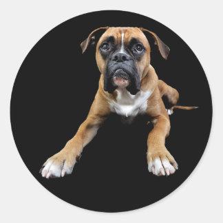 Love Boxer Puppy Dog Black Greeting Sticker