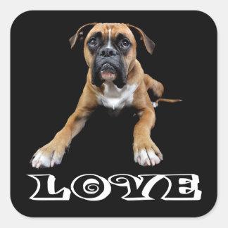 Love Boxer Puppy Dog Black Sticker / Seal