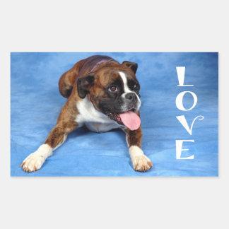 Love Boxer Puppy Dog Blue Sticker / Seal