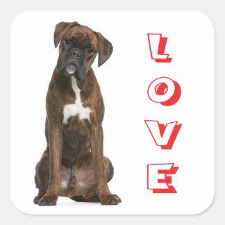 Love Boxer Puppy Dog Greeting Sticker