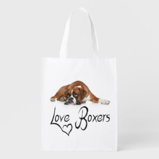 Love Boxer Puppy Dog Tote Bag Grocery Bags