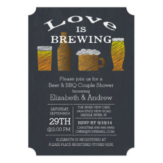 Love Brewing Barbecue Bridal Shower Invitation Personalized Announcement