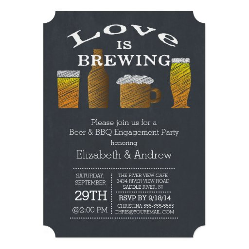 Love Brewing Barbecue Engagement Party Invitation Personalized Announcement