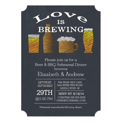 Love Brewing Barbecue Rehearsal Dinner Invitation Custom Invites