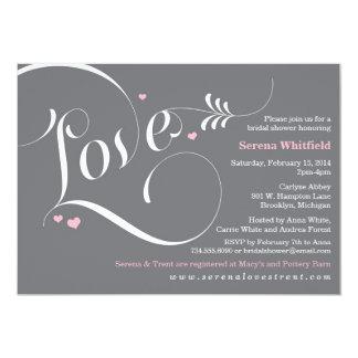 Love Bridal Shower Invitation, Elegant Pink Grey Card