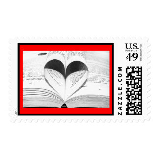 Love Bride Heart Black and White Save the Date Postage Stamp