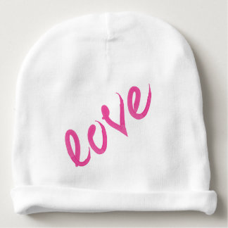 Love - Bright Pink Handwritten Watercolor Script Baby Beanie
