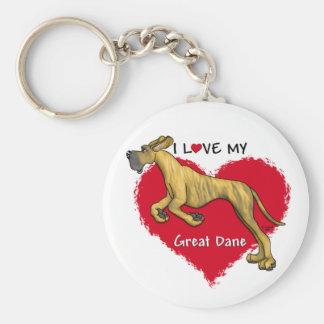 Love Brindle Great Dane UC Key Chain
