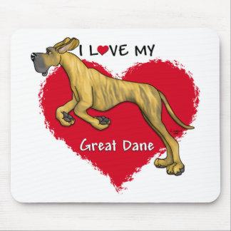 Love Brindle Great Dane UC Mouse Mats