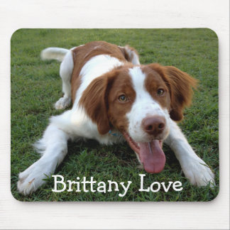 Love Brittany Spaniel Puppy Dog Mousepad