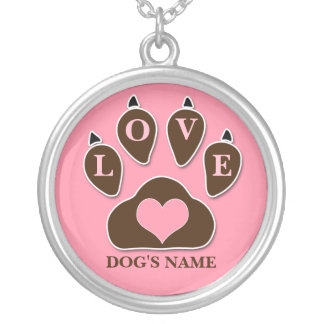 Love Brown and Pink Paw Print Dog Silver Plated Necklace