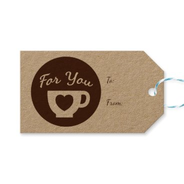 Coffee Themed Love Brown And White Hearts Coffee Cup - Wedding Gift Tags