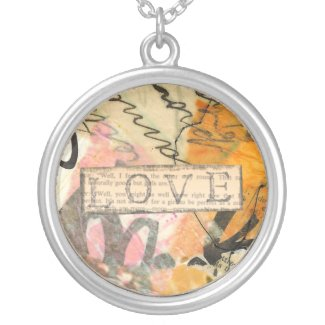 Love bstract collage necklace