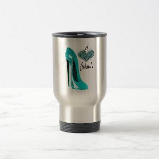 Love Bubblegum Blue Stiletto Shoe and 3D Heart Travel Mug