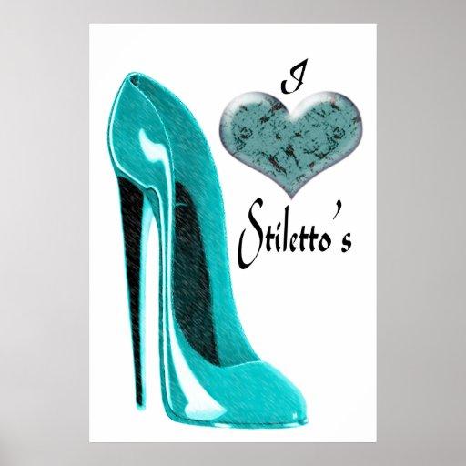 Love Bubblegum Blue Stiletto Shoe Art Poster