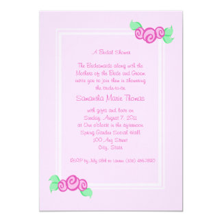 Love Buds/ Pink 5x7 Paper Invitation Card