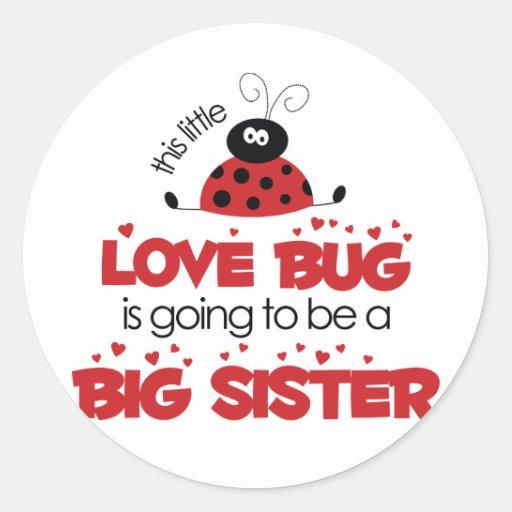 Love Bug Big Sister T-shirt Classic Round Sticker