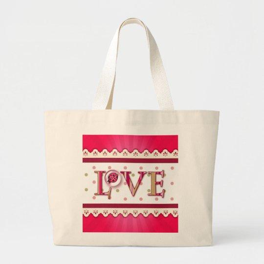 LOVE BUG BUBBLE, DOTS & STRIPES by SHARON SHARPE Large Tote Bag