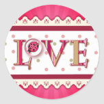LOVE BUG BUBBLE, DOTS & STRIPES by SHARON SHARPE Classic Round Sticker
