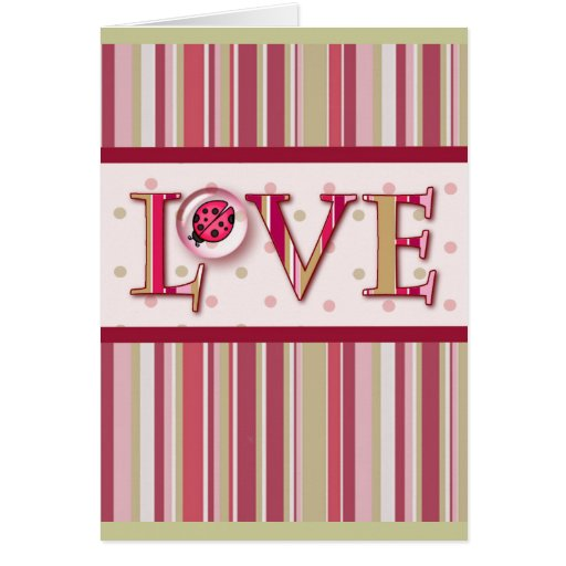 LOVE BUG BUBBLE & STRIPES by SHARON SHARPE Greeting Card