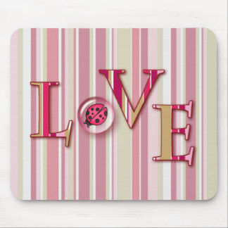 LOVE BUG BUBBLE & STRIPES by SHARON SHARPE Mouse Pad