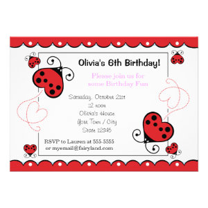 Love Bug Heart Ladybug Birthday Invitations Pink