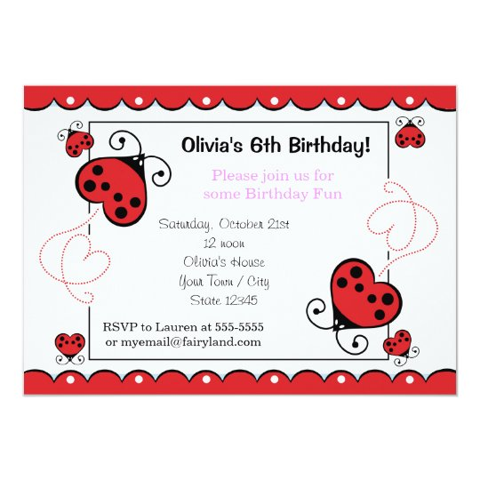 Love bug heart ladybug birthday invitations pink zazzle love bug heart ladybug birthday invitations pink filmwisefo