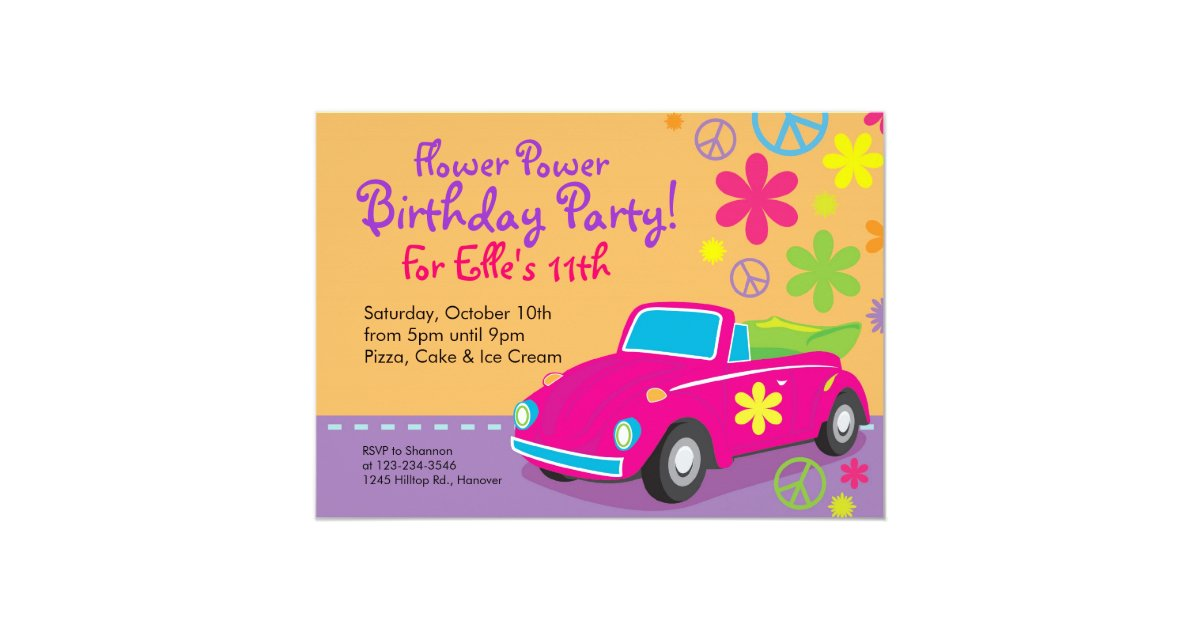 Love Bug Hippie Birthday Party Invitations | Zazzle.com
