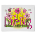 Love Bug Lady Bug Girls Room Wall Art Print