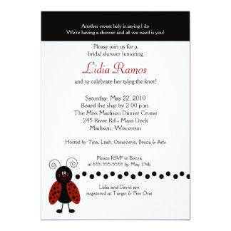 "Love Bug Ladybug 5x7 Bridal Shower Invite 5"" X 7"" Invitation Card"
