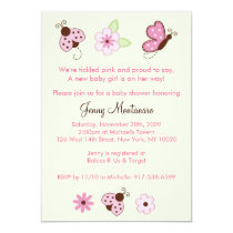 Love Bug Ladybug Baby Shower Invitations Girls