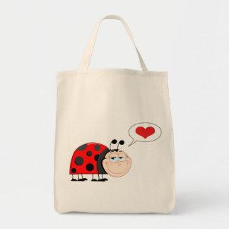 Love Bug Ladybug Grocery Tote Bag