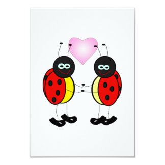 Love Bug Ladybug Cartoon 3.5x5 Paper Invitation Card