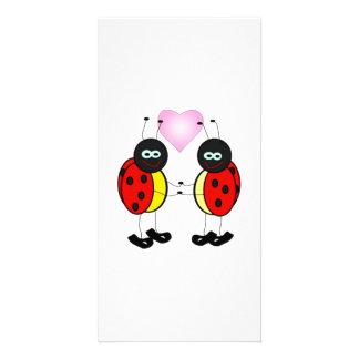 Love Bug Ladybug Cartoon Photo Greeting Card