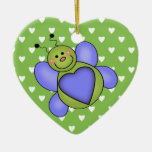 Love Bug Double-Sided Heart Ceramic Christmas Ornament