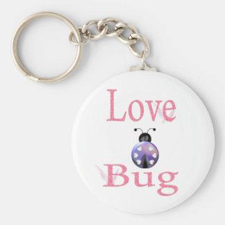 love bug purple basic round button keychain