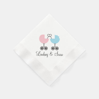 Love Buggies Joint Baby Shower Napkins, Pink/Blue Napkin